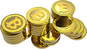 BitCoin currency: stacks of coins