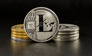 Litecoin currency: stacks of coins
