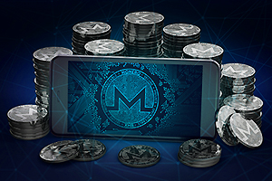 Monero currency: stacks of coins